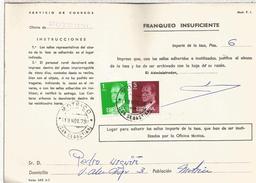 ESPAÑA CORREOS DOCUMENTO RECLAMACION POR FALTA DE FRANQUEO MAT MOTRICO GUIPUZCOA - 1931-Hoy: 2ª República - ... Juan Carlos I