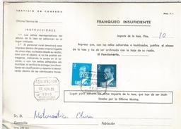 ESPAÑA CORREOS DOCUMENTO RECLAMACION POR FALTA DE FRANQUEO MAT ORIO GUIPUZCOA - 1931-Hoy: 2ª República - ... Juan Carlos I