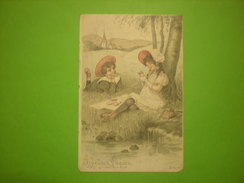 Cpa Joyeuses Pâques, Petit Garçon Et Petite Fille, Timbre (P1) - Easter