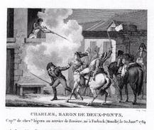 Campagne Napoléon- CHARLES BARON DES DEUX PONTS   - Gravure Sur Acier De 13.3cmx 9.2cm Document Avec Biographie - Prints & Engravings