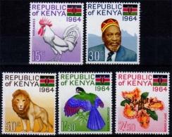 Kenia MiNr. 15/19 ** Tag Der Republik, Tiere, Löwen - Kenia (1963-...)