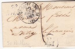 52 Perthes - Lettre Complète De 1840 Pour Vitry Le Franc Is (51)(o Absent). Et Cursive 50 Perthes. Tb état. - Marcophilie (Lettres)