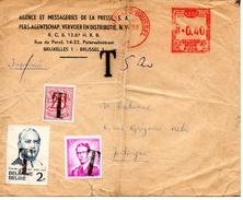 Enveloppe Vers Jodoigne Taxée Sur 3 Timbres  5f,20  Départ De Brussel 1982