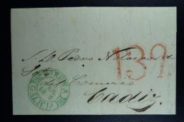 Spain: La Coruna A Cadiz Omitido Un Numero Del Ano, Missing I Digit Of Year Cancel 18 5  Complete Letter 16-2-1845 Signe - Spanien