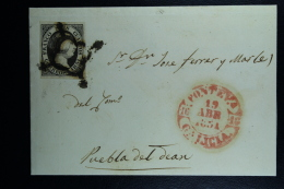 Spain: Complete Letter  Bueu A Puebla    Ed. 6 Mi Nr 6 , 1851 - 1850-68 Königreich: Isabella II.