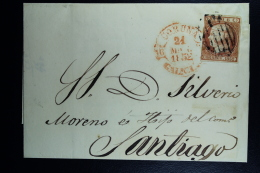 Spain: Complete Letter De La Coruna A Santiago Ed. 12 Mi Nr 12 , 1852 - Lettres & Documents