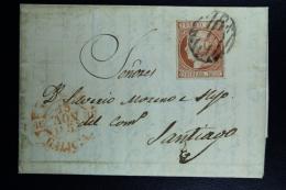 Spain: Cover De Nocenda A Santiago  Error Mes Invertida   Ed. 12 Mi Nr 12 , 1852 Month Invertered In Cancel - 1850-68 Königreich: Isabella II.