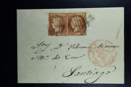 Spain: Complete Letter De Tuy A Santiago Ed. 12 Mi Nr 12 , 1852  Double Stamps - 1850-68 Regno: Isabella II