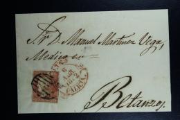 Spain: Cover Santiago A Betanzos Ed. 12 Mi Nr 12 , 1852 - Lettres & Documents