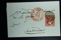Spain: Complete Letter De Bueu A Santander  Ed. 17 Mi Nr 17 , 1853 - Lettres & Documents