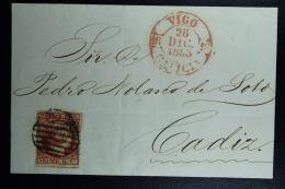 Spain: Cover De Vigo A Cadiz  Ed. 17 Mi Nr 17 , 1853 - 1850-68 Reino: Isabel II