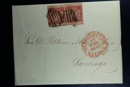 Spain: Cover De Pontevedra A Santiago Ed. 24 Mi Nr 26 , 1854 - 1850-68 Regno: Isabella II