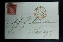 Spain: Cover De Lugo A Santiago Ed. 24 Mi Nr 26 , 1854 - 1850-68 Reino: Isabel II