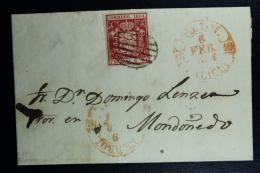 Spain: Cover De Ferrol A Mondonedo Fechador Doble Con Correction 6 + 9 Feb  De Ed. 24 Mi Nr 26 , 1854 - 1850-68 Regno: Isabella II