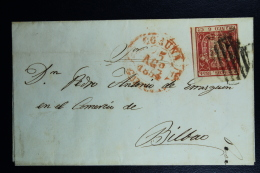 Spain: Cover De La Coruna A Bilbao  Ed. 24 Mi Nr 26 , 1854 - 1850-68 Regno: Isabella II