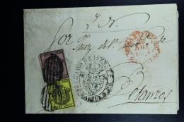 Spain: Complete Official Letter De PArzua A Bentanzos Por Santiago Ed. 28 + 29  Mi Nr Dienst 1 + 2 , 1854 - Lettres & Documents
