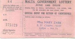 MALTA GOVERNMENT LOTTERY JUNE 1960 DRAW CARNET DE 5 BILLETS - Lotterielose