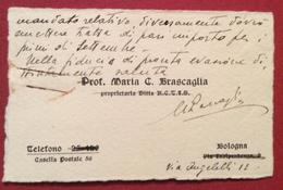 BIGLIETTO DA VISITA PROF.MARIA C.BRASCAGLIA BOLOGNA  11/8/1937 Manoscritto Autografo - Cartoncini Da Visita