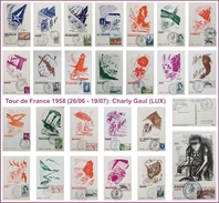 25x Postcard / Carte Postale Tour De France 1958 (Frederic Delanglade, Bernard Buffet) - Radsport