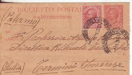 1-Interi Postali Con Valore Facciale Gemello-Biglietto Postale-Intero Postale 10c.+10c.Leoni-1918-Verona-Termini Imerese - Interi Postali