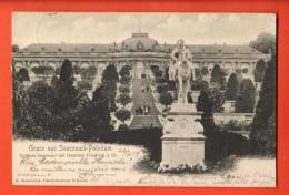 IAE-26 Gruss Aus Sanssouci-Postsdam. Denkmal Friedrich Der Gr. Pionier. Gelaufen In 1901 Nach Roubaix FR - Potsdam