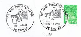 10  TROYES100 Ans Philatel'Aube  23/11/02 - Postmark Collection (Covers)