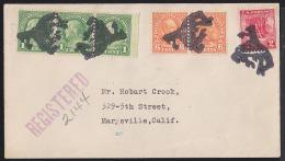 USA 1928 Fancy Cancel - Bucking Bronco. 4 Marks In Black On Registered Letter From Prescott, AZ. - Stati Uniti