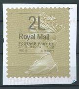 GROSSBRITANNIEN GRANDE BRETAGNE GB 27-10-10 2LG ROYAL MAIL GOLD HORIZON (TYPE I) (THIN FONT) - Universal Mail Stamps