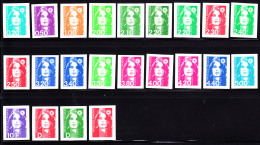 France 1990's Marianne Du Bicentenaire Collection Of 22 Different Imperforates. MNH. - France