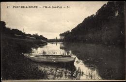 Cp Pont De L'Arche Eure, L'Ile De Bont Port, Boot, Fluss - France