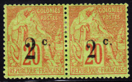 Reunion 1893 2c On 20c Colonies Pair With 2 Different Overprints. Scott 53,55. MH. - Isola Di Rèunion (1852-1975)