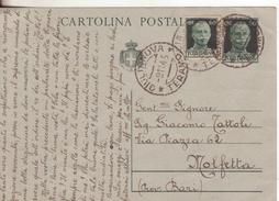 9-Interi Postali Con Valore Facciale Gemello-Cartolina Postale 60c.+ 60c.Luogotenenza-v1945-Giulianova-Teramo X Molfetta - 5. 1944-46 Luogotenenza & Umberto II