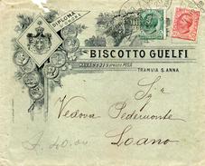 1908 LETTERA INTESTATA BISCOTTO GUELFI CON ANNULLO PISA - Storia Postale