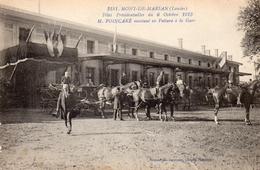 40 MONT DE MARSAN LA GARE EXTERIEURE ANIMEE FETES PRESIDENTIELLES  DU 6 OCTOBRE 1913 MR POINCARE MONTANT EN VOITURE - Mont De Marsan