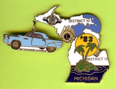 Pin's Club Lions Michigan Ford Thunderbird Bleu - 6B09 - Ford