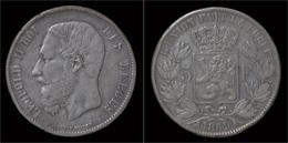 Belgium Leopold II 5 Frank 1869 - 1865-1909: Leopoldo II