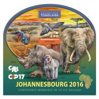 TOGO 2016 ** Rhinoceros Nashorn COP17 CITES Johannesburg S/S - IMPERFORATED - A1705