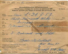 Schweiz - Dienstfreifahrschein Für Bahnpersonal - 3. Classe 1957 - Von Zurzach Nach Eglisau Oder Stein Säckingen Für 2 B - Bahn
