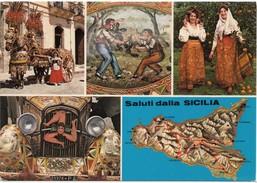 Saluti Dalla SICILIA, Folklore, Unused Postcard [19494] - Unclassified
