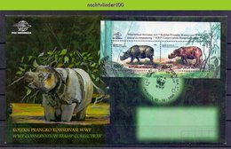 Mwe2365b FAUNA NEUSHOORN 'WWF CONSERVATIONS STAMPS' ZOOGDIEREN RHINO MAMMALS RINOCEROS INDONESIA 1996 FDC #