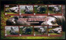 WWF W.W.F. Liberia MNH Perf Sheetlet 2016 : Pygmy Hippopotamus - W.W.F.