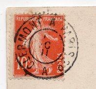 """1911--cachet  Ambulant"""" CLERMONT à PARIS 3°--A-- """" Sur Tp Semeuse Le Tout Sur Carte Postale RIOM-63--cachet BOUSSAC-23 - Railway Post"""