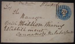 Inde Britannique, Lettre Pour Cannanore Malabar Coast Entier Postal, Date à Définir - Inde (...-1947)