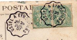 """1907--2 Cachets Ambulant""""USSEL à EYMOUTIERS""""sur Paire Horizontale 5C Type Blanc CPA Chasse à Courre - Marcophilie (Lettres)"""
