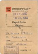 Schweiz - Schüler- Und Lehrlingsabonnement Serie 20 - Uneingeschränkte Anzahl Fahrten 1959 - 2. Classe Von Embrach-Rorba - Bahn