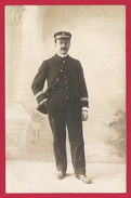 Carte Photo Studio D'un Officier De Marine - Professions