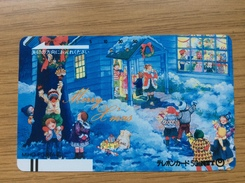 Early Telecarte Japon - Merry Christmas - Balkenkarte / Front Bar Card Japan / Japonese - Weihnachten