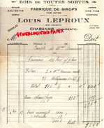 16 - CHABANAIS- FACTURE LOUIS LEPROUX-RUE GAMBETTA- FABRIQUE DE SIROPS- BOIS RHUM-CHAMPAGNE-1920 - France