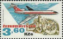 Czechoslovakia / Stamps (1973) L0079 (Air Mail Stamp): Cz. Airlines (TU 154, Castle Trencin); Painter: J. Lukavsky - Kunst