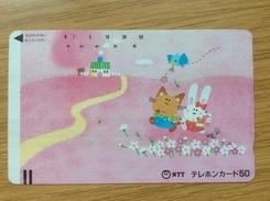 Early Telecarte Japon Comic Rabbit And Cat  - Balkenkarte / Front Bar Card Japan / Japonese - Japan